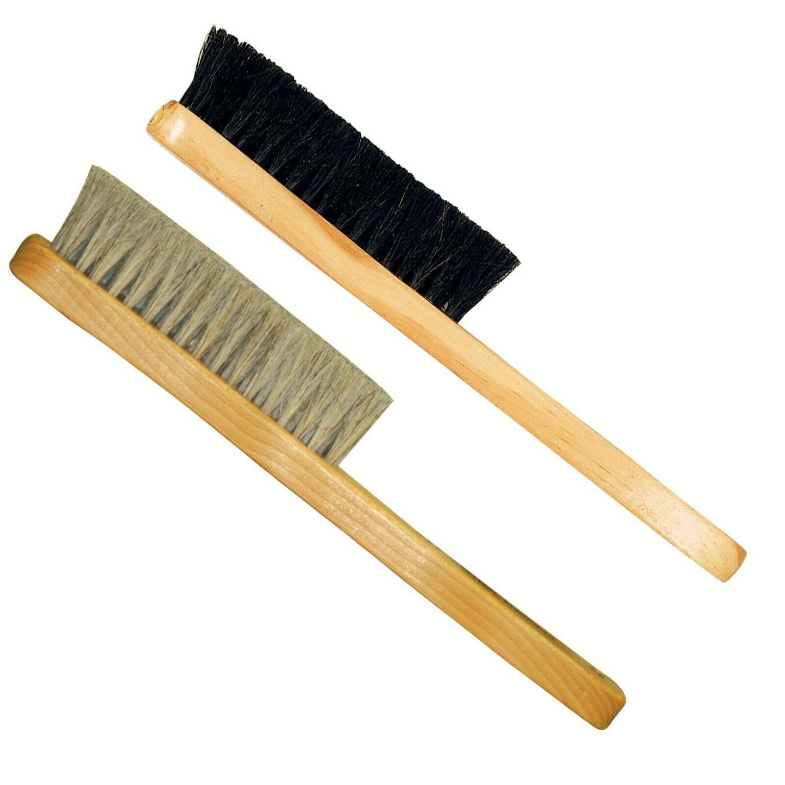 2 Wooden Hat Brushes - Dark and Light Color -Horse Hair Bristles on Wood Frame