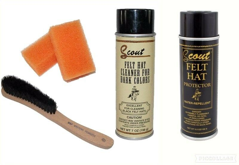 DARK COLORS Felt Hat Set =1 Brush + 2 Sponges +1 Cleaner Spray +1 Protector