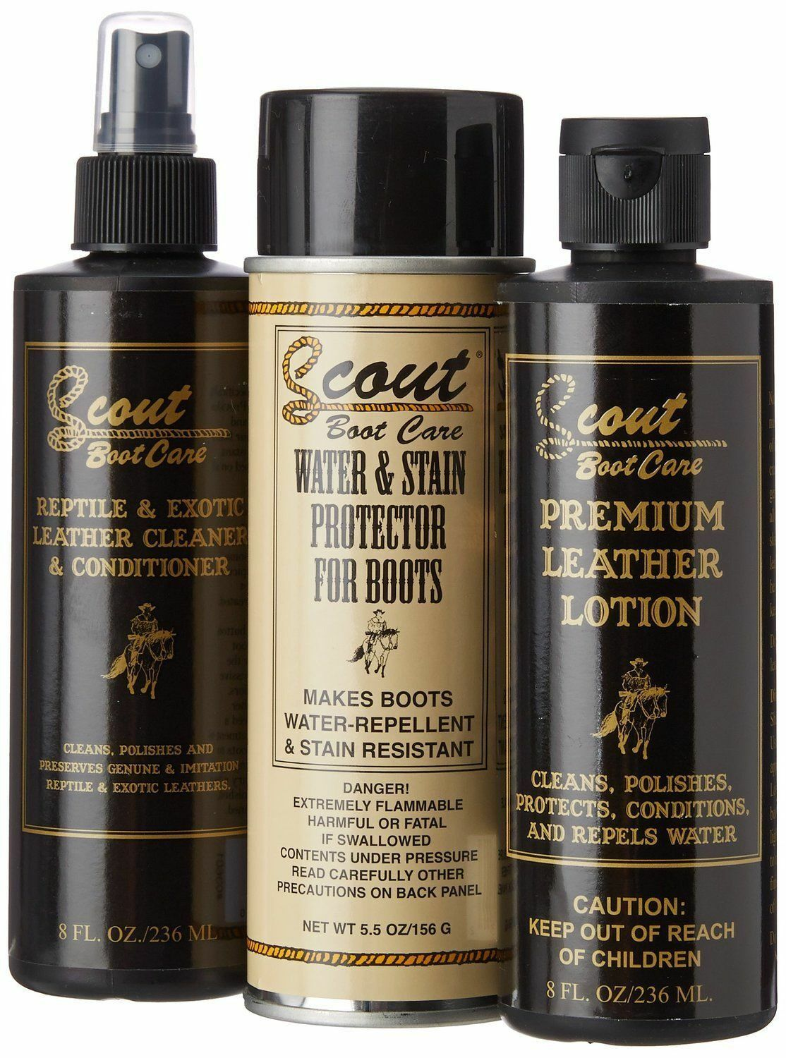 Scout Exotic Boots Care Cleaning Kit -Cleaner Conditioner Protector Preserver