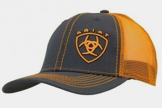 Ariat Logo Mens Hat Baseball Cap Mesh back Snapback Gray with Orange -1595126