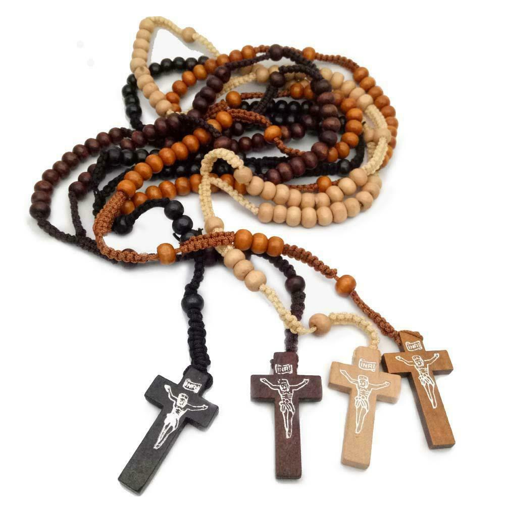 Lot of 4 Wood Rosaries - Set de 4 Rosarios de Madera - Great Price FREE SHIPPING