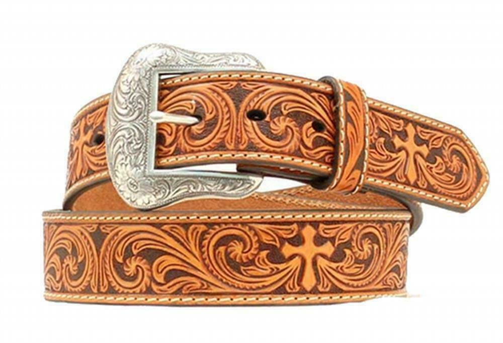 Nocona Western Mens Belt Leather Embossed Cross Rich Earth Brown N2494808
