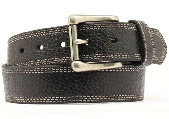 HD Xtreme Men's  Heavy Duty Genuine Leather Belt Triple Edge Stitch Black