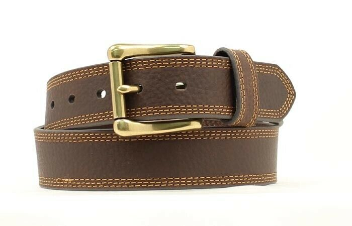 HD Xtreme Men's  Heavy Duty Genuine Leather Belt Triple Edge Stitch BROWN