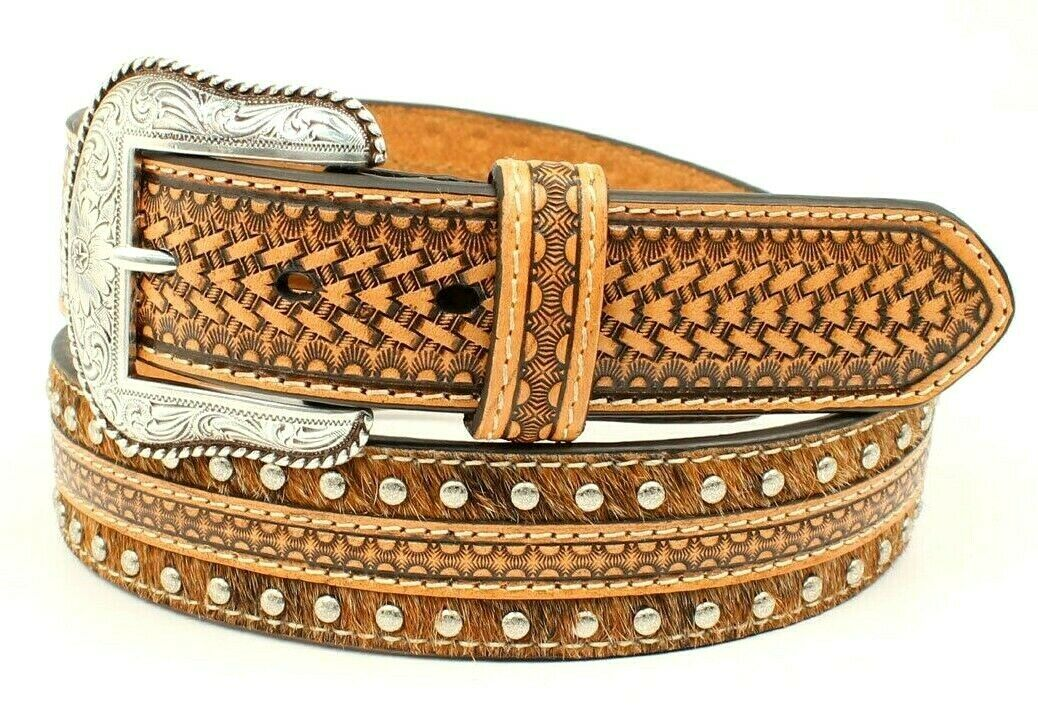 Nocona Western Belt- GENUINE CALF HAIR AND HAND TOOLED LEATHER BELT