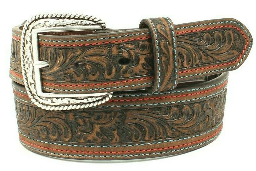 Nocona Western Belt- GENUINE LEATHER TOOLED COWBOY BELT MENS Triple Stitched