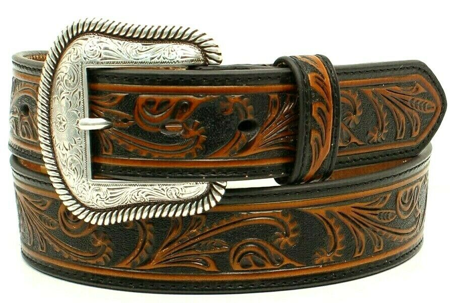 Nocona Western Belt - GENUINE LEATHER EMOBOSSED PATTERN COWBOY -Black/Brown Men