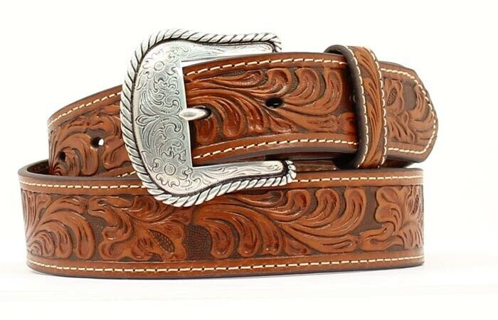 Nocona Western Belt - GENUINE LEATHER TOOLED PATTERN COWBOY -Tan/Brown Men