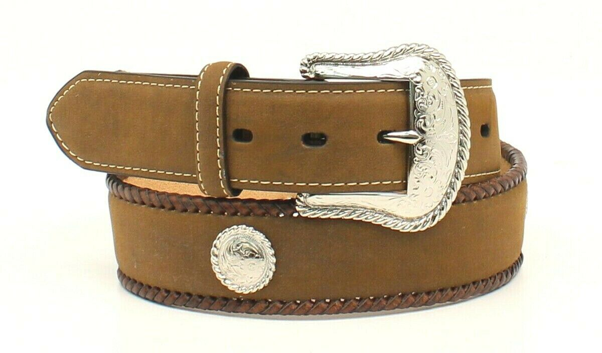 Nocona Western Belt -GENUINE LEATHER with Concho -Medium Brown Distressed -Cinto