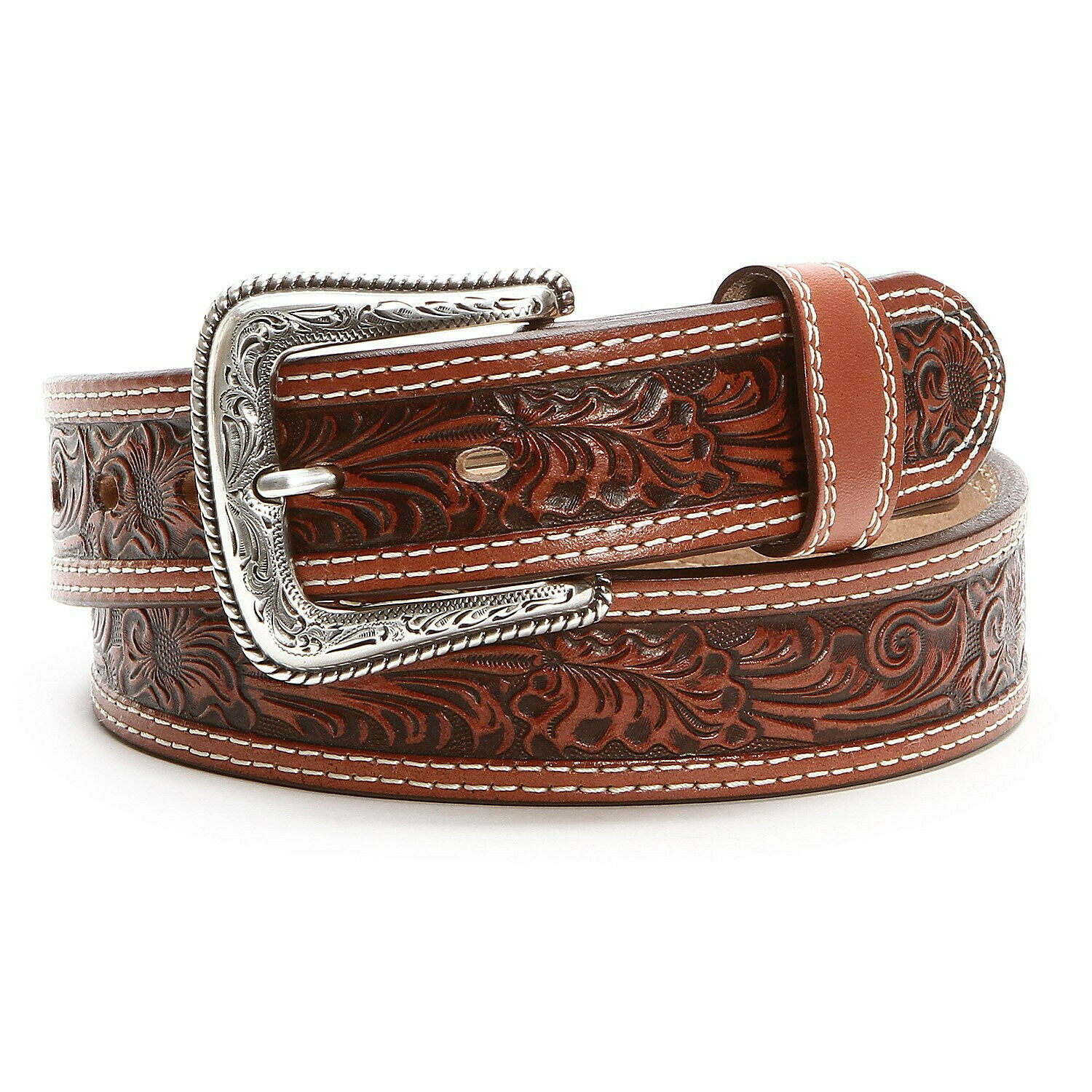 Nocona Western Mens Genuine Leather Belt Tooled Floral Patern Cinto Vaquero Piel