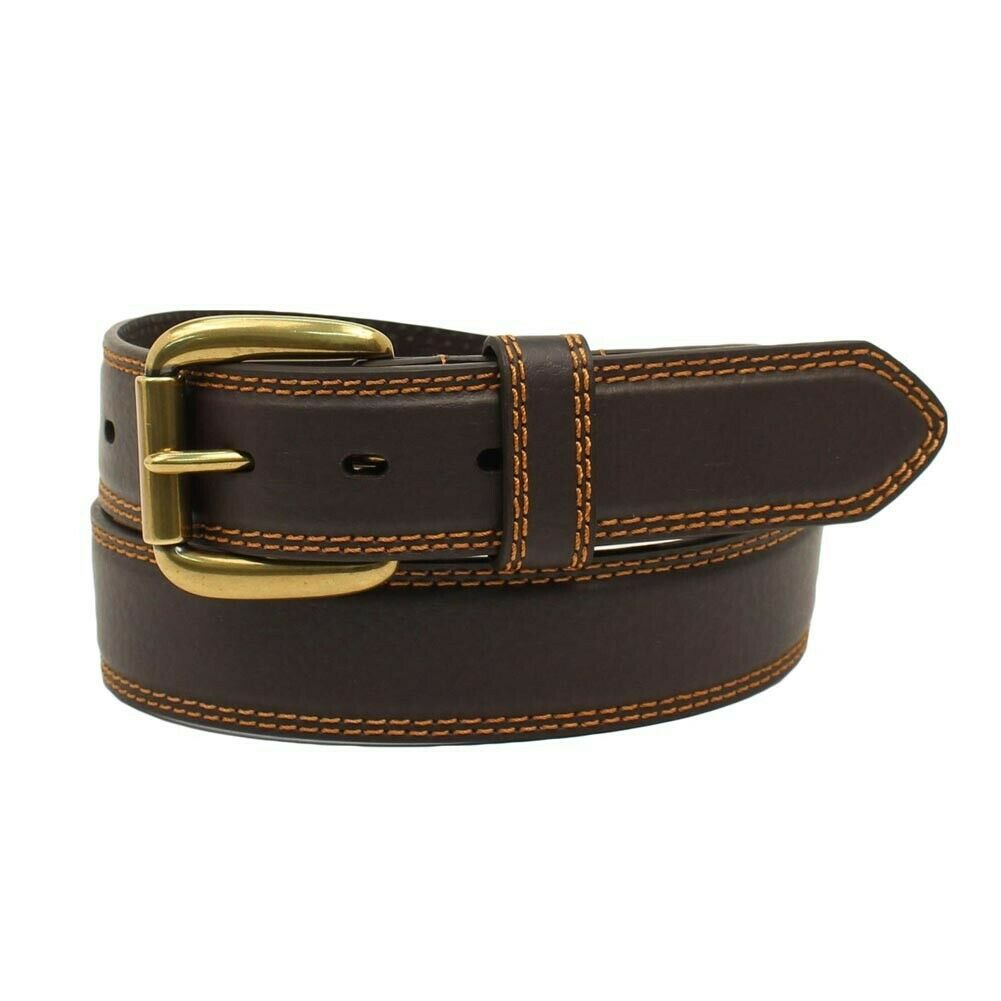 Nocona Men's Genuine Leather Belt -Brown Hired Hand Double Stitch- Cinto de Piel