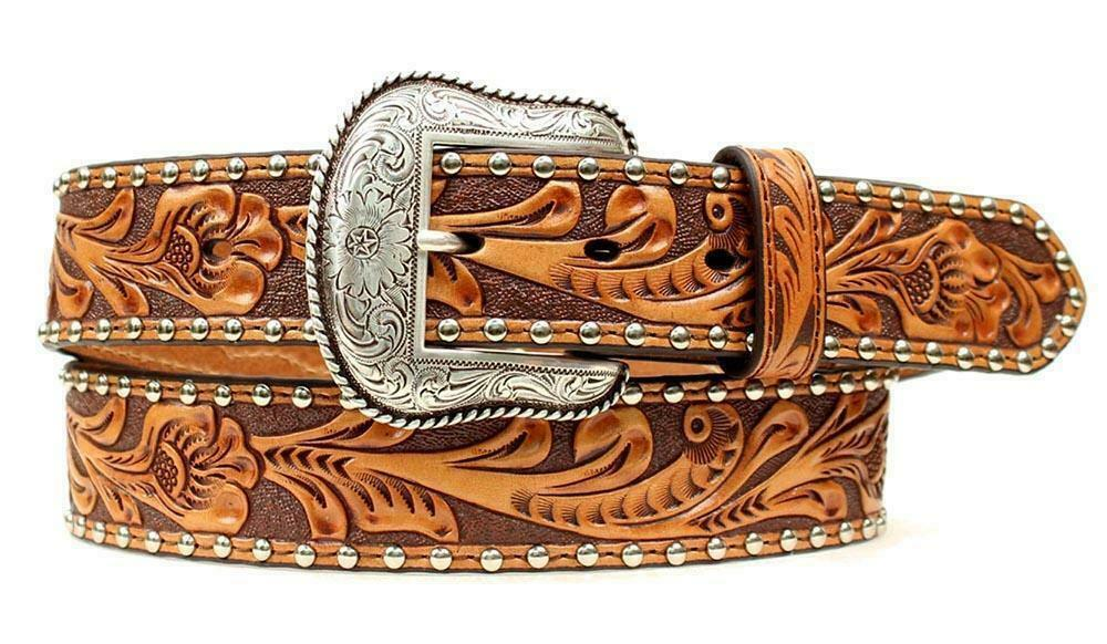 Nocona Western Belt- GENUINE TOOLED LEATHER with CALF/COW HAIR tan with Conchos