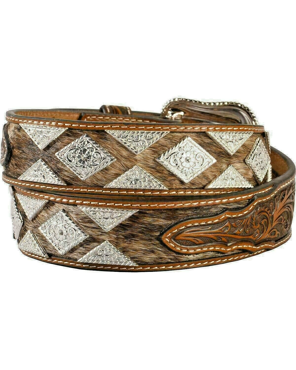 Nocona Genuine Leather and Hair-on-Hide Diamond Concho Fancy Western Belt