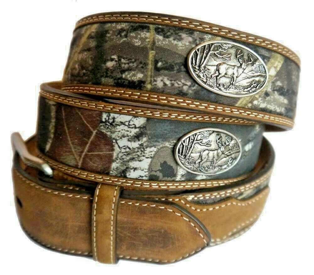Nocona Western Belt Mens Leather Buck Conchos Camo Brown N24866222