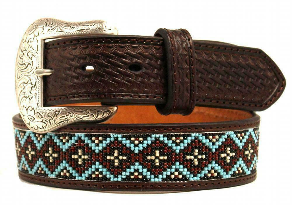 Nocona Western Mens Belt Genuine Leather Tooled Southwest Beaded Brown Free Ship