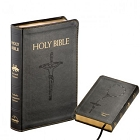 Holy Bible NABRE Catholic Companion Edition Librosario Black Faux Leather Fireside